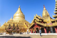 Architektura Shwezigon pagoda w Bagan Fotografia Stock