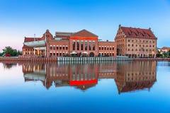 Architektura stary miasteczko w Gdańskim przy półmrokiem Obrazy Stock