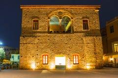 Architektura Stary Wenecki port w Chania przy nocą, Crete Obraz Royalty Free