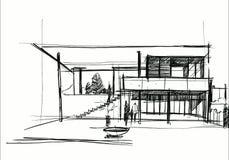 Architektura szkicuje Projekt rysunkowy Dom szkic budynku royalty ilustracja