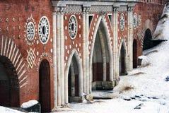 Architektura Tsaritsyno park w Moskwa stary most Zdjęcie Royalty Free