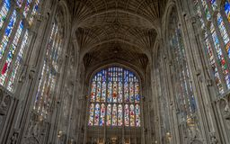 Architektura wśrodku sławnej królewiątka ` s szkoły wyższa, Cambridge, Zlany królestwo Obraz Royalty Free