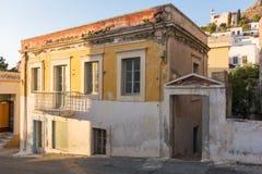Architektura w Agia Marina wiosce, Leros Fotografia Stock