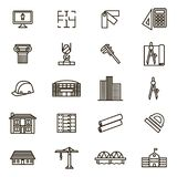 Architektura znaków czerni ikony Cienki Kreskowy set wektor Fotografia Stock