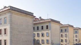 Architekturabstraktion von vier alten Häusern Stockfotos