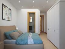Architekturanimation eines Schlafzimmerinnenraums stock footage