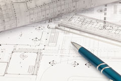 Architekturcad-Zeichnung stockbild