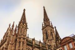 Architekturdetail des façade des Heiligen Etienne Temple in M Stockfotos