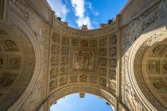 Architekturdetail von Arc de Triomphe du Carrousel Stockfotografie