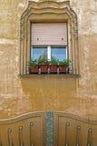 Architekturdetails über ein historisches Gebäude in Timisoara, römisch Lizenzfreies Stockbild