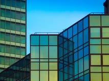 Architekturdetails von Geschäftsgebäuden, Frankfurt, Deutschland Stockbilder
