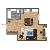 Architekturfarbgrundriss Studio-Wohnungs-Vektor-Illustration Draufsicht-Möbel-Satz Wohnzimmer, Küche, Badezimmer Sofa Stockfotos