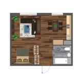 Architekturfarbgrundriss Studio-Wohnungs-Vektor-Illustration Draufsicht-Möbel-Satz Wohnzimmer, Küche, Badezimmer Sofa Stockbild