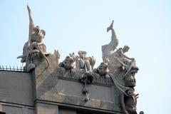 Architekturfragment des Hauses mit Schimären, Kiew, Ukraine Lizenzfreies Stockbild