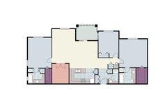 Architekturfußbodenplan der mit drei Schlafzimmern Eigentumswohnung Lizenzfreie Stockfotografie
