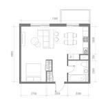 Architekturgrundriss mit Maßen Studio-Wohnungs-Vektor-Illustration Draufsicht-Möbel-Satz Wohnzimmer, Küche, Bad Stockfotos