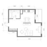 Architekturgrundriss mit Maßen Studio-Wohnungs-Vektor-Illustration Draufsicht-Möbel-Satz Wohnzimmer, Küche, Bad Lizenzfreie Stockfotos