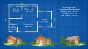 Architekturhausplan mit Modellen Stockbild