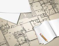 Architekturhintergrund, der technische Buchstaben zeichnet Lizenzfreies Stockbild