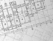 Architekturhintergrund, der technische Buchstaben zeichnet Stockbild