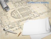 Architekturhintergrund, der technische Buchstaben zeichnet Stockfotos