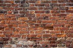Architekturhintergrund - eine alte Backsteinmauer Lizenzfreies Stockfoto