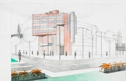 Architekturhintergrund mit Gebäudemodell Stockbild