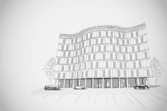 Architekturhintergrund mit mehrstöckigem Gebäude lizenzfreie abbildung