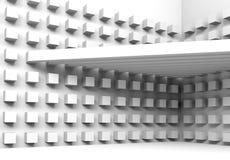 Architekturhintergrund mit Strahlen und Würfelmuster Stockfoto