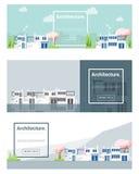 Architekturhintergrund Stadtbildfahne Stockfotografie