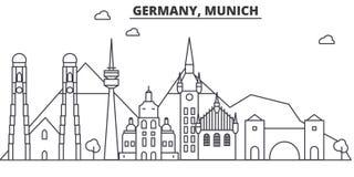 Architekturlinie Skylineillustration Deutschlands, München Lineares Vektorstadtbild mit berühmten Marksteinen, Stadtanblick stock abbildung