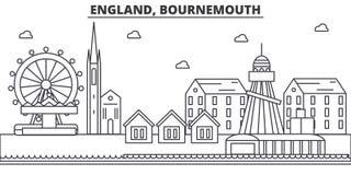 Architekturlinie Skylineillustration Englands, Bournemouth Lineares Vektorstadtbild mit berühmten Marksteinen, Stadtanblick Lizenzfreie Stockbilder