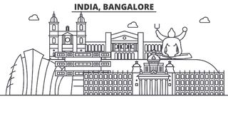 Architekturlinie Skylineillustration Indiens, Bangalore Lineares Vektorstadtbild mit berühmten Marksteinen, Stadtanblick Lizenzfreie Stockfotos