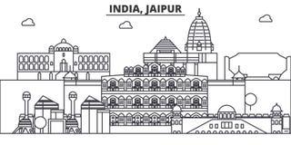 Architekturlinie Skylineillustration Indiens, Jaipur r Lizenzfreie Stockfotografie