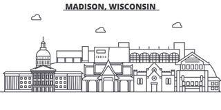 Architekturlinie Skylineillustration Madisons, Wisconsin Lineares Vektorstadtbild mit berühmten Marksteinen, Stadtanblick lizenzfreie abbildung