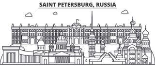 Architekturlinie Skylineillustration Russlands, St Petersburg Lineares Vektorstadtbild mit berühmten Marksteinen, Stadt vektor abbildung