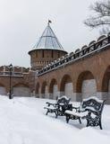 Architekturmonument: Ivanovskaya-Turm von Tula Kremlin in Winter 2018 Lizenzfreie Stockbilder