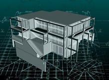 Architekturmusterhaus mit Plan. Vektor lizenzfreie abbildung