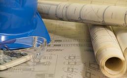 Architekturpläne für Bau lizenzfreies stockfoto