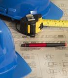 Architekturpläne für Bau lizenzfreie stockbilder