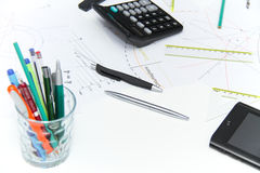 Architekturpläne und Projekte Stockbilder