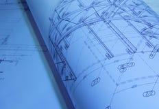architekturplan gerollter Arkivbilder