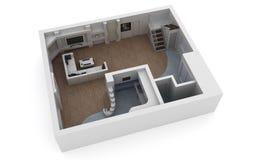 Architekturplanhaus auf Weiß Lizenzfreies Stockbild