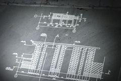 Architekturplanhintergrund Gemischte Medien vektor abbildung