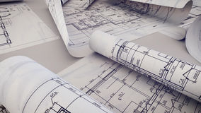 Architekturprojekt, Pläne, Plan rollt auf Plänen Stockfotos