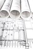 Architekturprojektarchitektenarbeitsplatz stockfoto