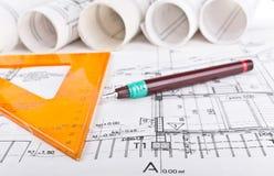 Architekturprojektplan stockbild