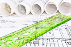 Architekturprojektplan lizenzfreie stockfotos