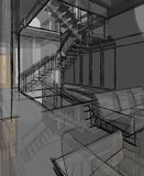 Architekturskizzen-Zeichnung stock abbildung
