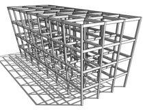 Architekturskizzenzeichnungs-Gebäudemodell lizenzfreie abbildung